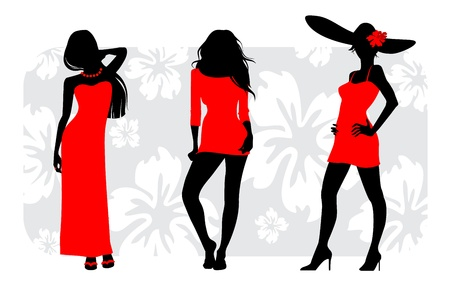 Vector illustration of a three girls silhouettes