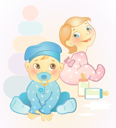 Photo for Vector illustration of two babies, girl and boy - Royalty Free Image