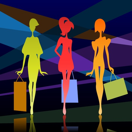Illustration pour Vector illustration of a three girl silhouette with bags - image libre de droit