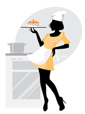 Illustration for Vector illustration  of a baker girl silhouette - Royalty Free Image