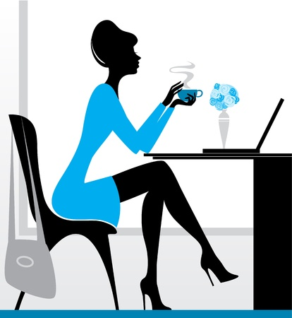 Vector illustration of a girl with laptop