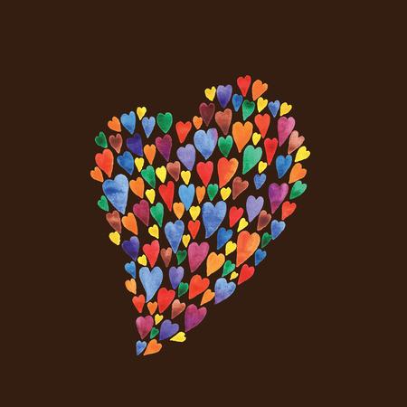 Illustration pour Colorful hearts watercolors illustration. Beautiful postcard for Valentine \\ \'s Day. Colorful hearts vector. - image libre de droit