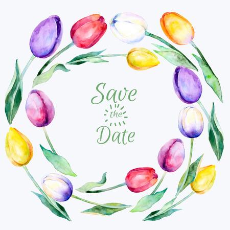 Illustration pour Vector frame of tulips watercolor flowers. Springsummer botanical items. Tulips flowers watercolors. Save the Date. - image libre de droit