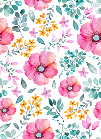 Watercolor floral seamless pattern with flowers and leafs. Colorful floral Vector illustration. Spring or summer hand made design for invitationwedding gold greeting cards can be used for wallpapers.