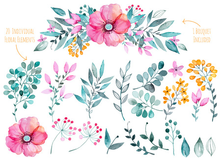 Vector floral set.Colorful purple floral collection with leaves and flowers, drawing watercolor.Colorful collection with floral flowers1 bouquet.Set of beautiful floral elements for your compositions.のイラスト素材
