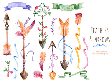 Illustration pour Hand painted watercolor collection for your design with romantic arrows, feathers, ribbons and banners.Hand painting.Vector Watercolor drawing design elements for Valentine's Day, wedding and others. - image libre de droit