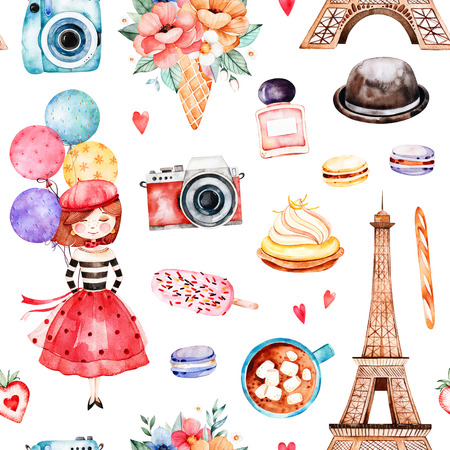Beautiful seamless pattern with Eiffel tower, camera, sweets, hat, bouquets, perfume, young girl, multicolored balloons and much more.Watercolor Paris set.Perfect for wallpaper, print, cover design, invitation
