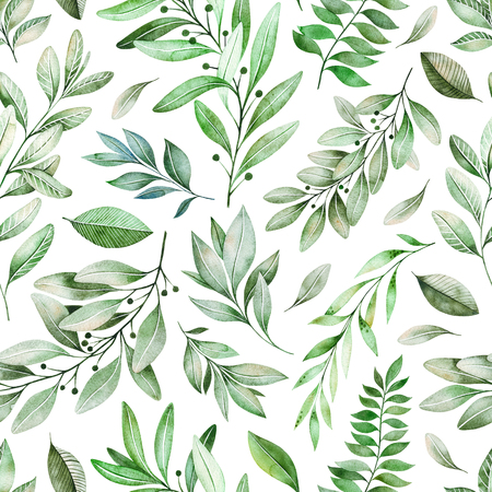 Watercolor leaves branch seamless pattern on white background. Texture with greens, branch, leaves, foliage.Perfect for wedding, cover design, wallpapers, patterns, packaging, print etc