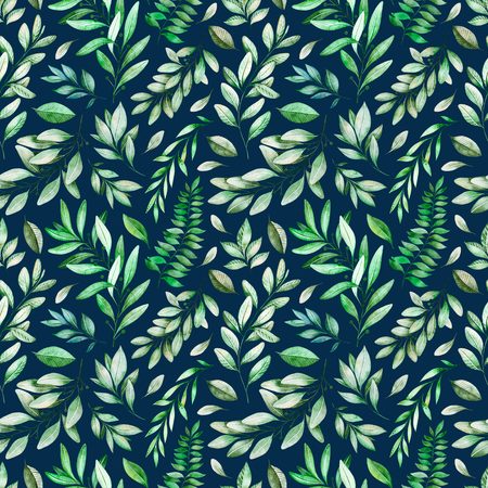 Watercolor leaves branch seamless pattern on white background. Dark Texture with greens, branch, leaves, foliage.Perfect for wedding, cover design, wallpapers, patterns, packaging, print etc