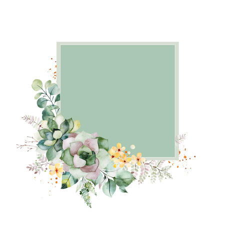 Photo pour Watercolor Green illustration.Pre-made Greeting card with foliage, fern leaves, branches, yellow flowers and more.Perfect for wedding, quotes, birthday and invitation cards, print, blogs, bridal cards, logos. - image libre de droit