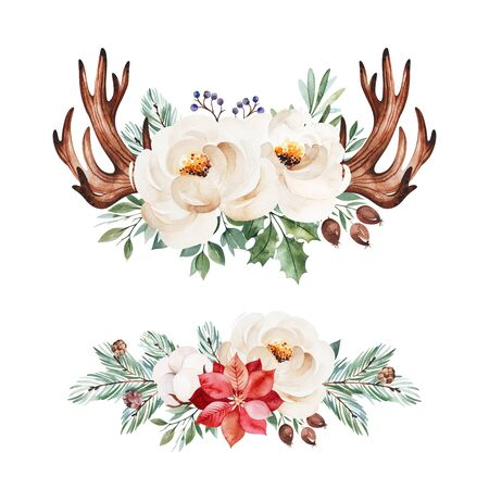 Photo pour Christmas and New Year collection. 2 lovely winter bouquets with leaves, branches, flowers, berries, holly, poinsettia.Handpainted watercolor illustration.Perfect for invitations and greeting cards. - image libre de droit