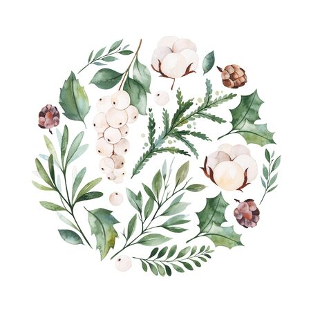 Foto de Christmas and New Year collection.Winter composition with leaves, branches, flowers, berries, pine cone.Handpainted watercolor illustration.Perfect for invitations, print, greeting cards. - Imagen libre de derechos