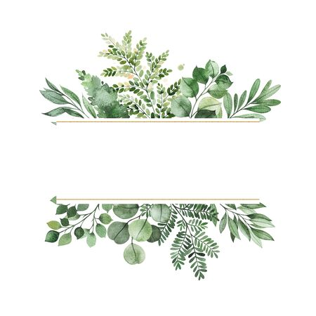 Photo pour Watercolor Greenery frame invitation with leaves, fern, branches, berry.Perfect for wedding, greeting cards, quotes, logos and your unique creation. - image libre de droit