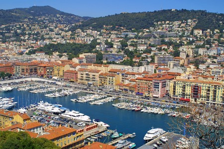 Bird view panorama of Port of City of Nice, France
