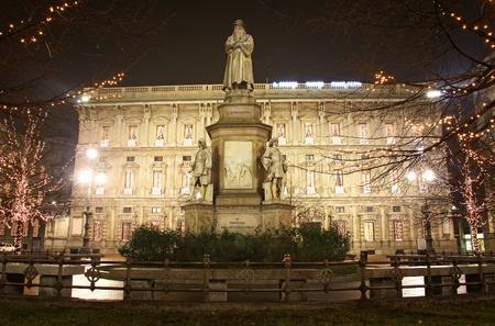 Leonardo's monument on Piazza Della Scala at night. Milan, Italy