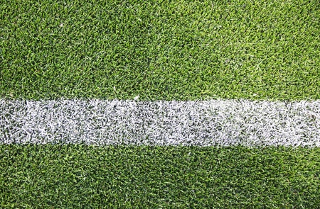White stripe on the green soccer/football field