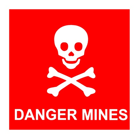 Vector image of red sign with skull and text *Danger mines*