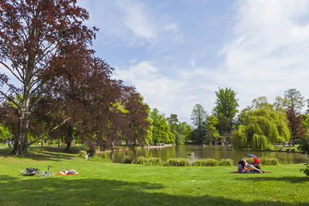Parc de L'Orangerie, a public park in the city of Strasbourg. Located opposite the Palace of Europe and close to the other EU institutions. Popular place to relax