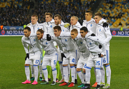 KYIV, UKRAINE - DECEMBER 6, 2016: FC Dynamo Kyiv players pose for a group photo before UEFA Champions League game against Besiktas at NSC Olimpiyskyi stadium in Kyiv, Ukraine