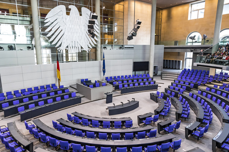 Photo pour BERLIN, GERMANY - SEPTEMBER 20, 2017: Interior of Plenary Hall (meeting room) of German Parliament (Deutscher Bundestag). Building and Meeting room available for public between plenary sessions - image libre de droit