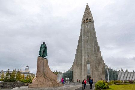 REYKJAVIK, ICELAND - SEPTEMBER 5, 2017: Hallgrimskirkja Cathedral, Lutheran parish church in Reykjavik, Iceland. At 74.5m high, it's the largest church in Iceland
