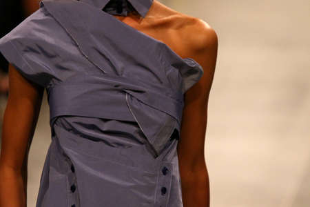 Foto per Fashion show. Catwalk event. Unrecognisable model. Close-up details of fashionable clothes - Immagine Royalty Free