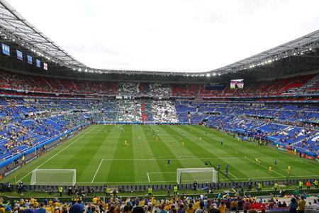 Photo pour LYON, FRANCE - JUNE 16, 2016: Panorama of the Stade de Lyon (Parc Olympique Lyonnais stadium or Groupama stadium) seen during UEFA EURO 2016 game Ukraine v Northern Ireland. Capacity is 59186 spectators - image libre de droit