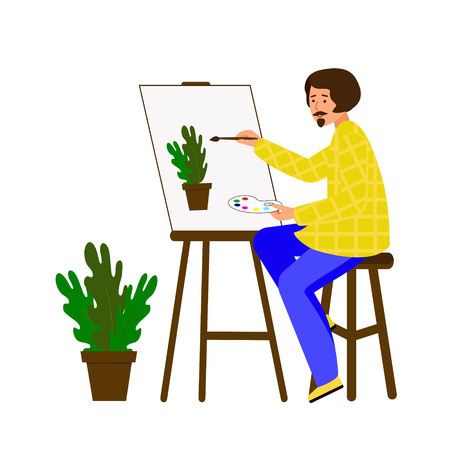 Illustration pour A man draws on canvas. The artist is working on a painting. The guy portrays a pot of flowers. Vector illustration. Character in flat style. - image libre de droit