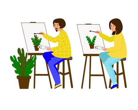 Illustration pour Man and woman painted on the canvas. Artists working on the painting. The guy and the girl shows a pot of flowers. Vector illustration. Character in flat style. White background. - image libre de droit
