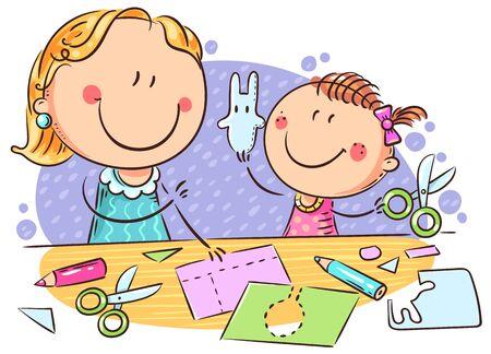Illustration pour Mother or teacher and a little girl enjoy crafting together, colorful illustration - image libre de droit