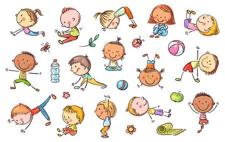 Illustration pour Yoga kids set, vector cliparts, doodle drawings - image libre de droit