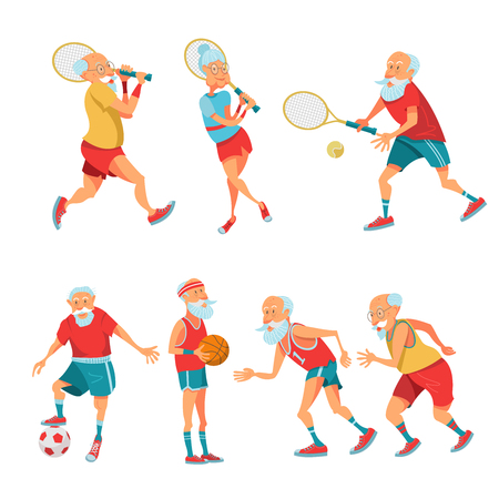 Illustration for Set of elderly athletes. Older people lead a healthy and active lifestyle. Older men and women are running, playing tennis, basketball and football.  Vector illustration in cartoon style. - Royalty Free Image