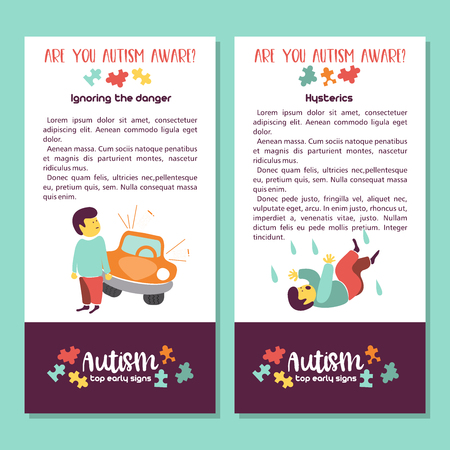 Illustration pour Autism. Early signs of autism syndrome in children. Vector illustration. Children autism spectrum disorder ASD icons. Signs and symptoms of autism in a child. - image libre de droit