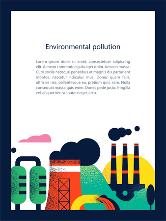 Illustration pour Pollution of the environment by harmful emissions into the atmosphere and water. Factories, Smoking chimneys, the discharge of harmful wastes into the river could. Vector colorful illustration with textures with space for text. - image libre de droit