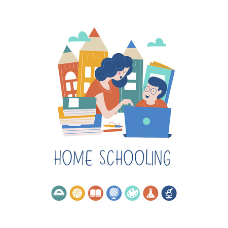 Illustration pour The concept of homeschooling. The emblem of home education for large families and families with children with disabilities. Vector illustration. - image libre de droit