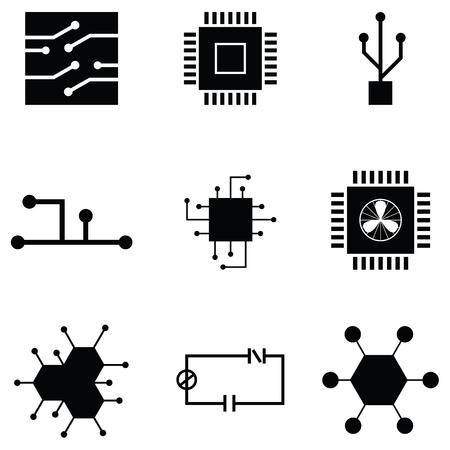 Circuit board icon set