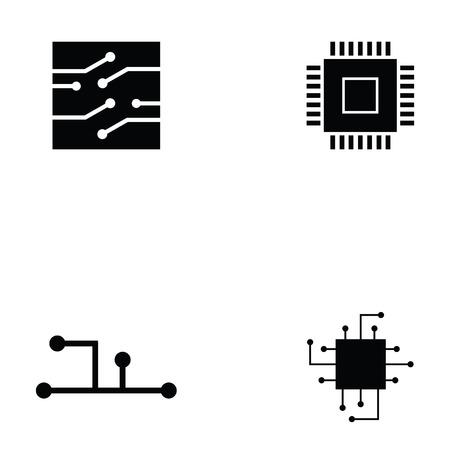Circuit board icon set.