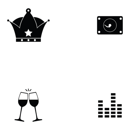 prom night icon set with crown, wine glass and music levels