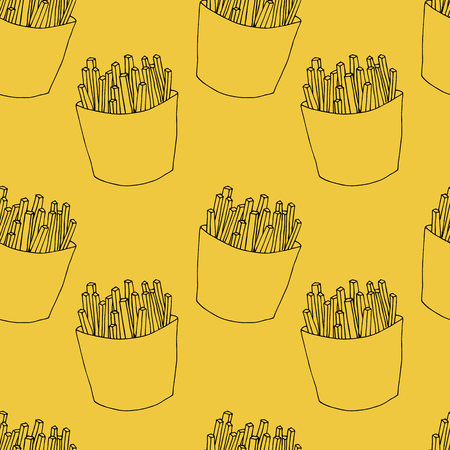 Illustration for Seamless pattern of french fries in cartoon style. Hand drawn illustration for menu design, fabric and wallpaper - Royalty Free Image