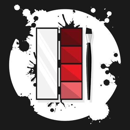 eye shadows flat illustration. Modern vector card concept for design and web.