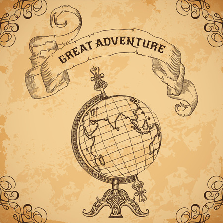 Foto de Poster with vintage globe and ribbon. Retro hand drawn vector illustration Great adventure in sketch style with grunge background old paper - Imagen libre de derechos