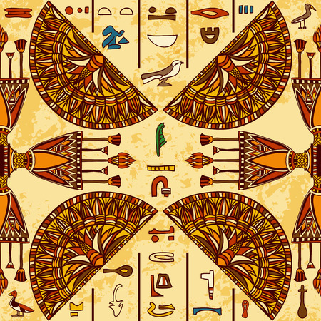Illustration pour Egypt colorful ornament with ancient Egyptian hieroglyphs on aged paper background. seamless pattern. Hand drawn illustration - image libre de droit