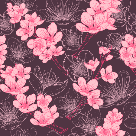 Illustration pour Seamless pattern with cherry tree blossom. Vintage hand drawn illustration in sketch style. - image libre de droit