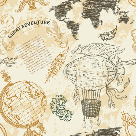 Seamless pattern with vintage globe, abstract world map, airship, rope knots, ribbon. Retro hand drawn vector illustration Great adventure in sketch style with grunge background old paper