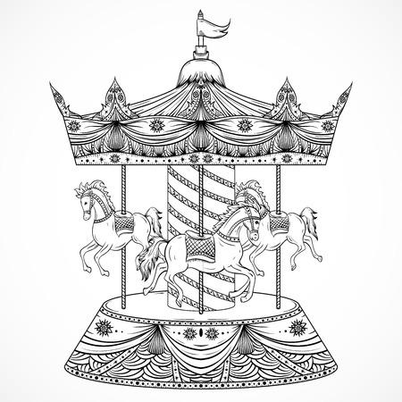 Illustration pour Vintage carousel. Hand drawn vector illustration - image libre de droit