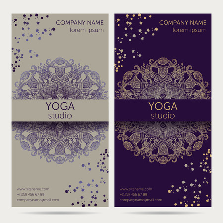 Design Template For Yoga Studio With Mandala Ornament Background Design Concept For Brochure Card Invitation Flyer Banner Colorful Vector Illustration Royalty Free Vector Graphics