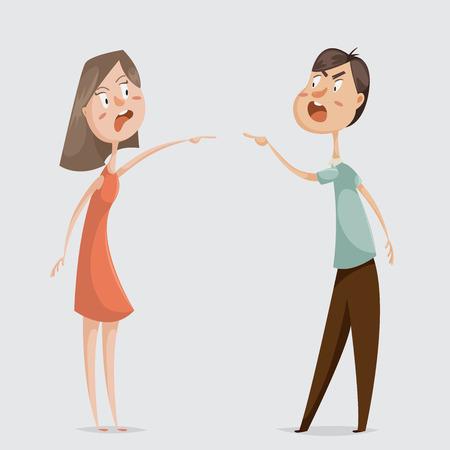 Illustration pour Divorce. Family conflict. Couple man and woman swear. Cartoon characters. Vector illustration - image libre de droit