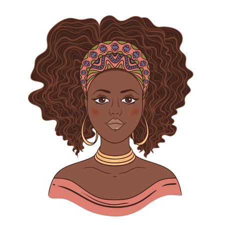 Illustration pour Portrait of African woman. Hand drawn vector illustration. - image libre de droit