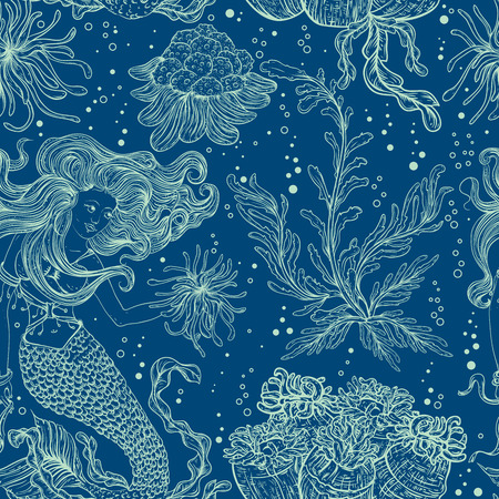 Illustration pour Mermaid, marine plants, corals and seaweed. Vintage seamless pattern with hand drawn marine flora. Vector illustration in line art style.Design for summer beach, decorations. - image libre de droit