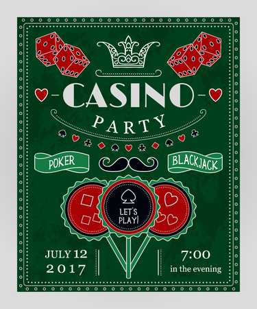 Casino party invitation with decorative elements. Vintage vector illustration